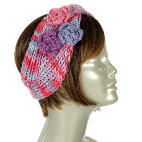 wholesale L25 Flower corsage knit headband Purple/Fuchsia/Lavender