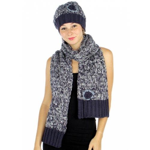 wholesale P08 2 tone Flower Knit scarf hat set BK