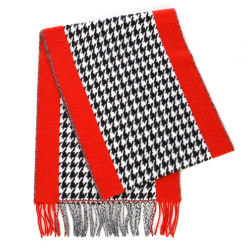 wholesale O63BX10 CashmereFeel Scarf Hound Tooth Border Red