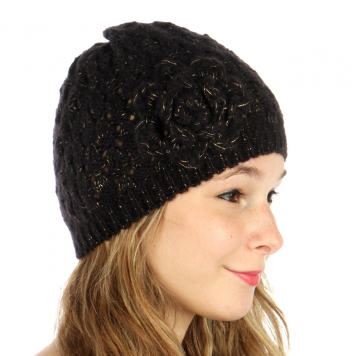 wholesale F06BX3 Flower Vent Knit Beanie Black