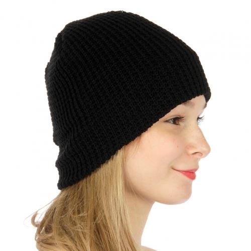 wholesale F14 Solid waffle Knit beanie Black fashionunic
