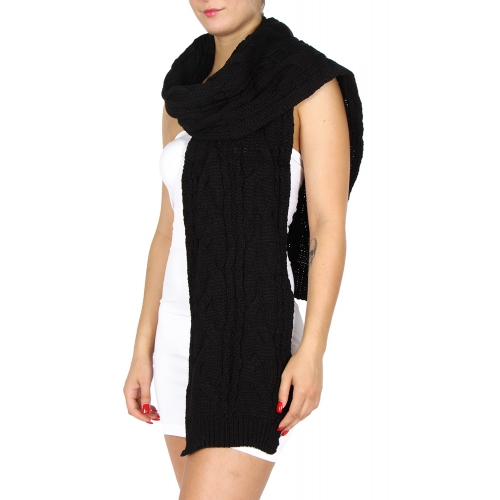 wholesale Classic chunky cable knit scarf Black