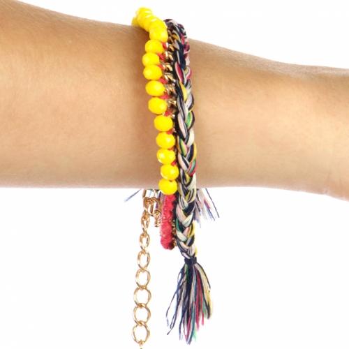 wholesale N31 Yellow rinestone pretzel yarn Bracelet GDMT