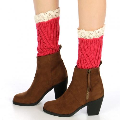 wholesale H42 Crochet toppers lace leg warmers Fuschia