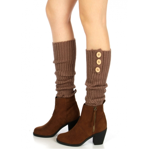 wholesale O46 Triple buttons ribbed knit leg warmers Brown