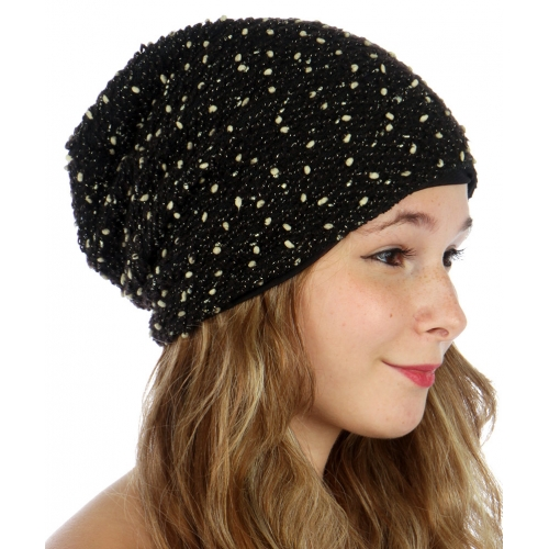wholesale O07 Metallic bubble knit beanie Black