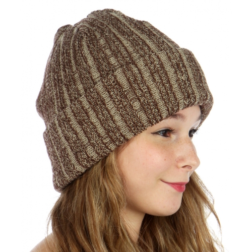 wholesale O07 Stripe ribbed knit beanie Brown