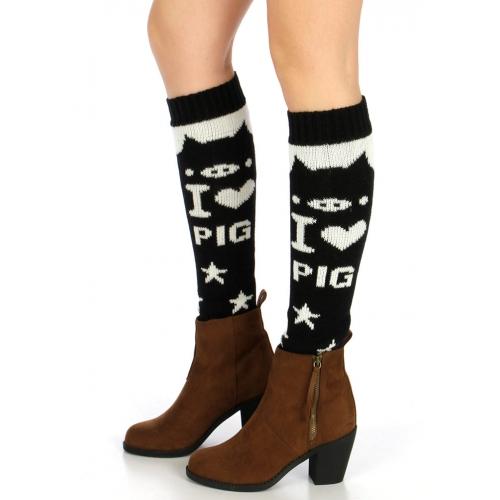 wholesale L31 I love pig knit leg warmers Black