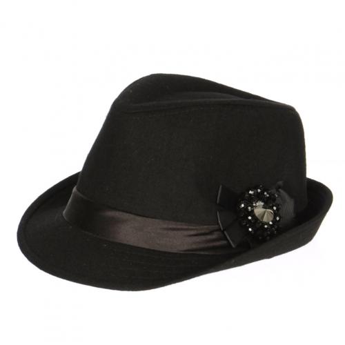 wholesale V57BX12 Black beads bow Fedora hat Black
