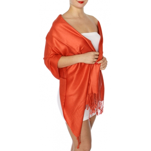 wholesale D45 Silky Solid Wedding Pashmina 37 New Rust