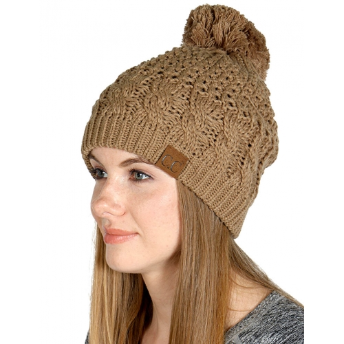 wholesale O24 2 layer cable knit pompom beanie Beige