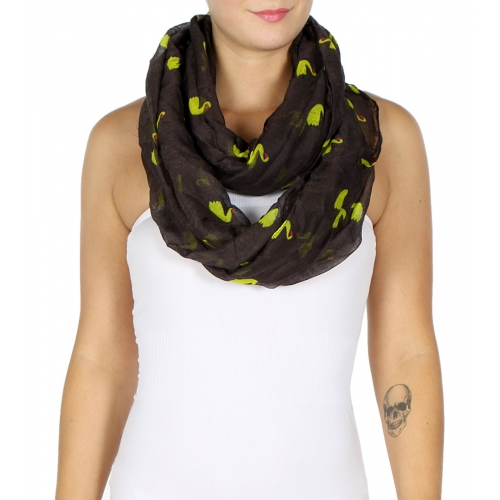 wholesale I37 Floating swans infinity scarf Black