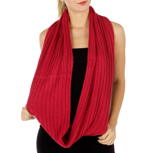 wholesale O11 Thick Ribbed Knit infinity scarf Cadet