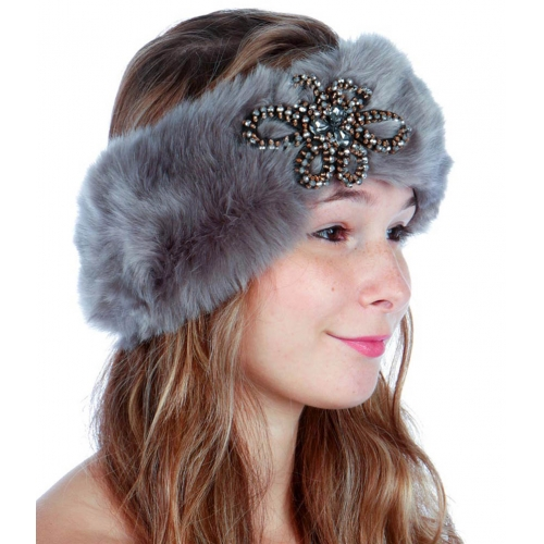 wholesale O30 Faux fur headband rhinestone Black