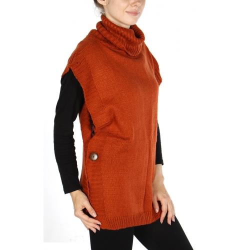 wholesale Wood button turtleneck vest Black