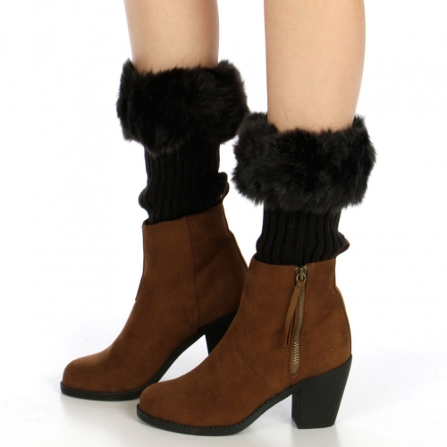 wholesale N38 Fuzzy faux fur leg warmers Black