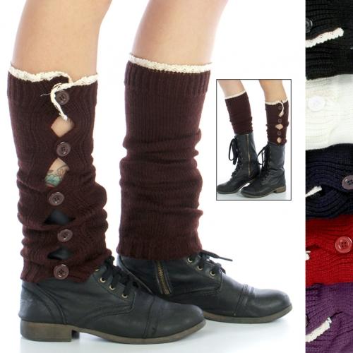 wholesale N38 Bottoned toppers lace leg warmers Dozen