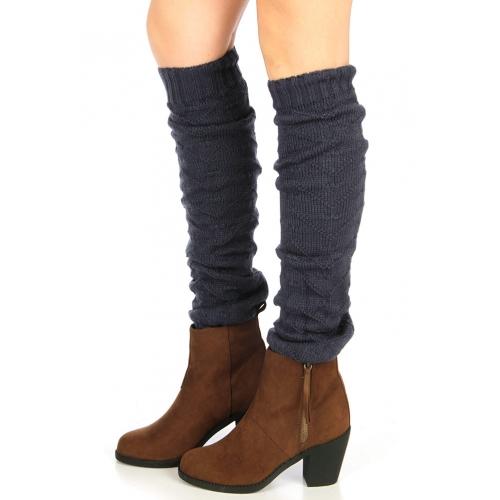 wholesale H39 Wave Knit long leg warmers Blue