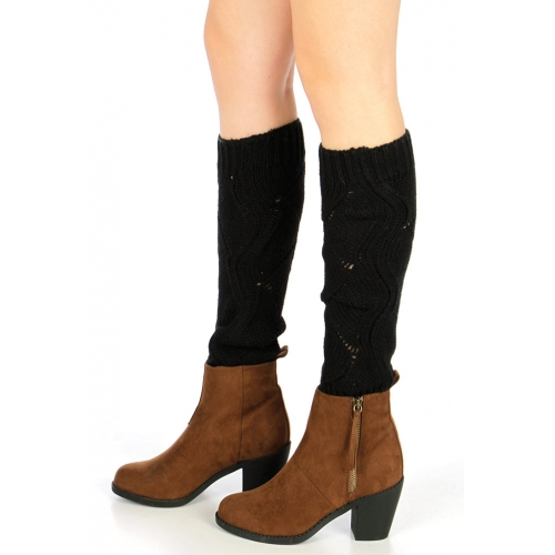 wholesale H37 Curly rhombus knit leg warmers Black
