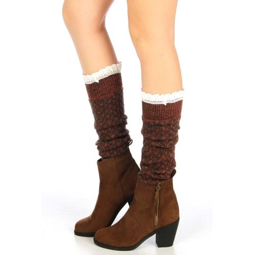 wholesale H37 Lace top knit leg warmers Rust fashionunic