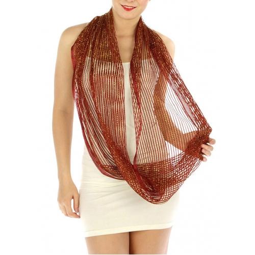 wholesale BX3 Metallic lurex net infinity scarves Dozen