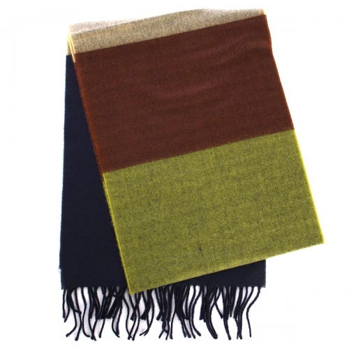 wholesale O60 Cashmere feel scarf color block blue fashionunic
