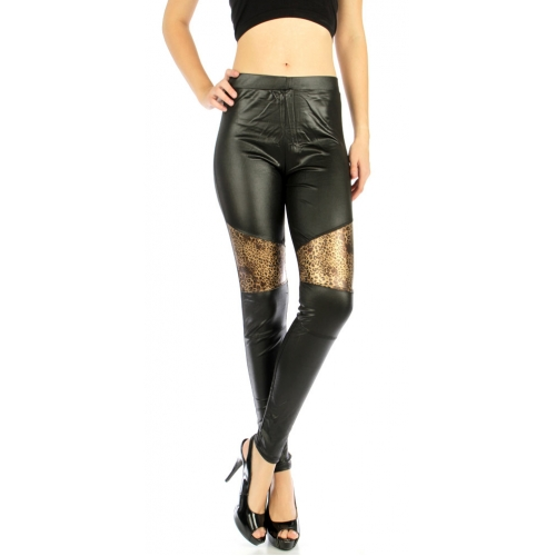 wholesale B09 Metallic leopard panel liquid leggings