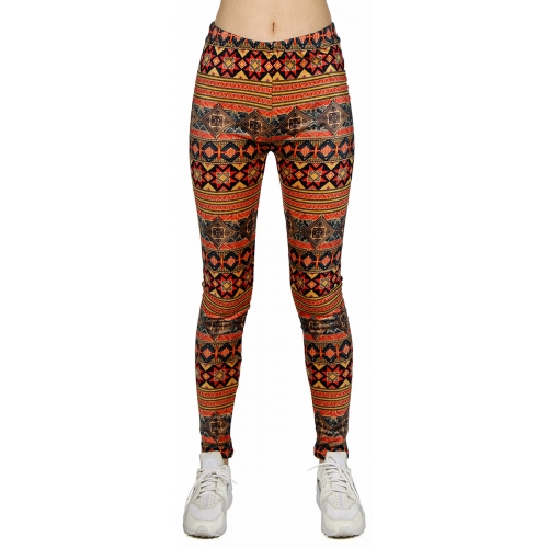 wholesale B18 Tribal stripe fur leggings Coral