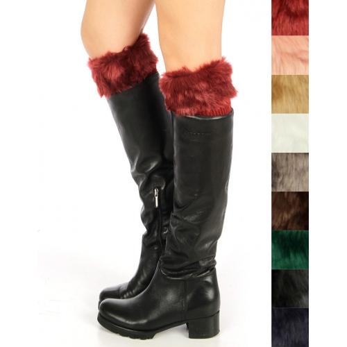 wholesale N32 Cozy fuzzy faux fur leg warmers Dozen
