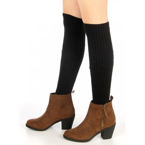 Wholesale Q10 All Black color knit leg warmers Black