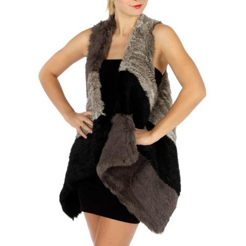 wholesale M21 Natural rabbit fur color block vest BK