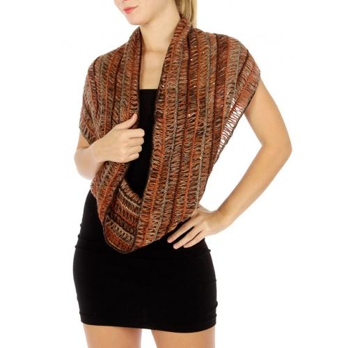 wholesale R65 Multi KKnet knit infinity scarf Rust