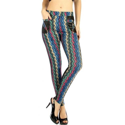 wholesale WA00 Multi color chevron liquid pants Grey S