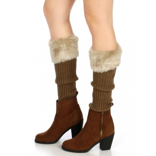wholesale Q81 Faux fur top knit leg warmer Brown
