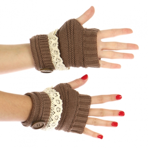 wholesale H18 Single button lace fold up fingerless gloves Brown
