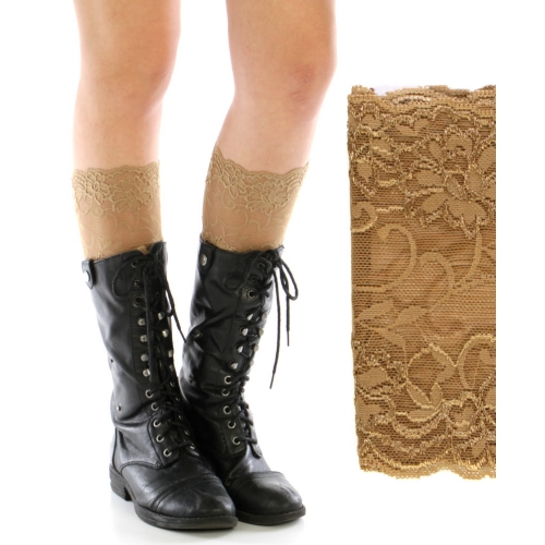 wholesale H10 Flower lace boot cuffs Brown fashionunic