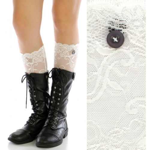 wholesale H12 Buttons lace boots toppers White