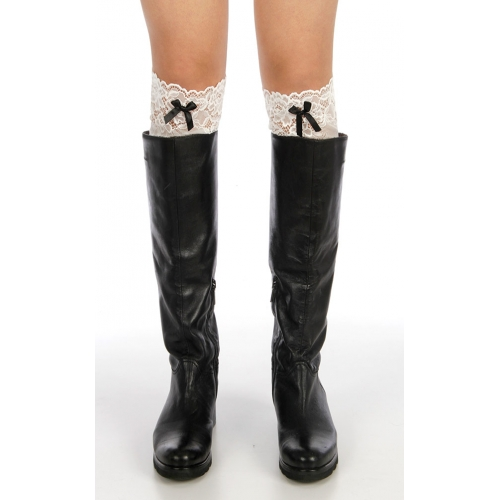 Wholesale J08 Ribbon lace boots toppers White
