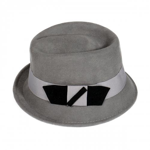 wholesale R15 Cute bow wool felt fedora hat Grey