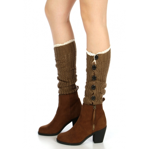 wholesale O04 Crochet lace open knit buttons leg warmers Brown
