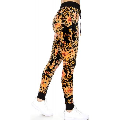 wholesale Soft brush flowers pocket velour jogger pants