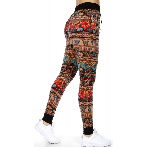 wholesale Flower butterflies pocket velour jogger pants