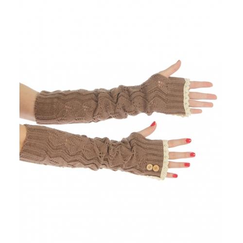 wholesale L25 Crochet lace top knit long arm warmers Brown