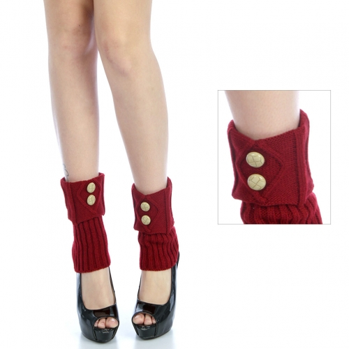 wholesale O57 Round button cable knit leg warmers Red