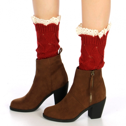 wholesale Q17 Crochet lace top leg warmers Brown
