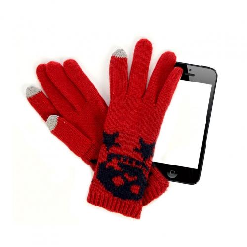Wholesale C22 Skull knit touch screen gloves Dozen Red
