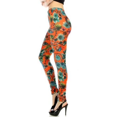 wholesale Q25 Flowers jewelery fur velour leggings OR/BU