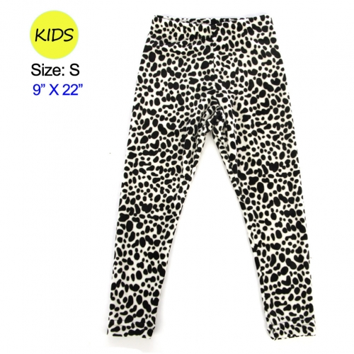 wholesale Q27 BK/WTleopard velour kid's leggings S