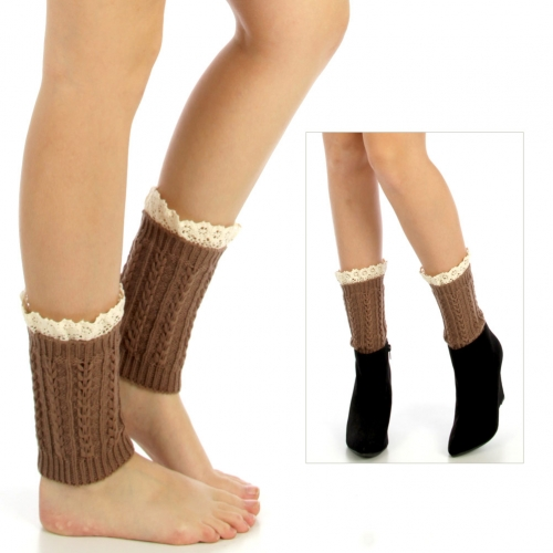 wholesale Q13 Crochet lace toppers leg warmers Brown