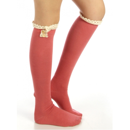 wholesale N01 Cotton knee high lace top socks Grey